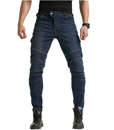 YuanDian Hombre Pantalon Vaquero Moto Jeans de Moto con Protecciones de Rodilla y Cadera Stretch Slim Fit Denim Pantalones Protectores Cargo Recto Pantalones De Motorista Azul 34W / 32L