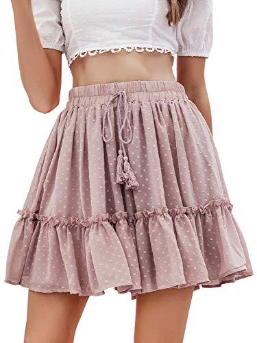 Season 4 Women's Dot Floral Print A line Skirt High Waist Ruffle Mini Skirts with Tassels Pink,L