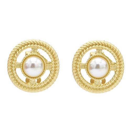 Pendientes de personalidad simple de perlas redondas retro cruzadas europeas y americanas pendientes-B