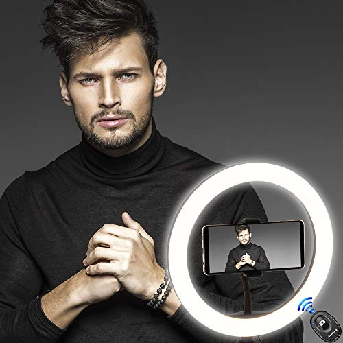 """AmeriLuck 10"""" Selfie Ring Light with Tripod Stand & Cell Phone Holder, for Makeup, Photography and Live Stream, Gift Bluetooth Remote Shutter Included"""