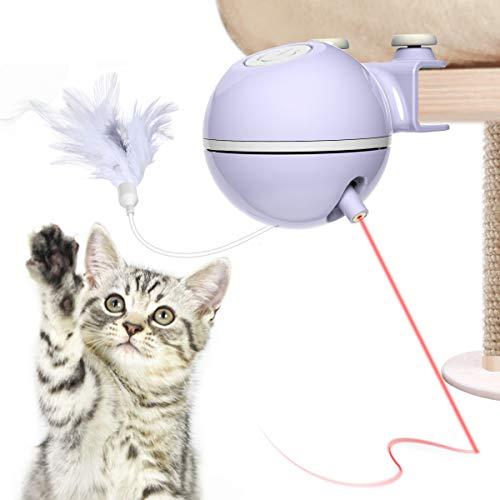 DADYPET Katzenspielzeug, Kratzbaum-Katzenspielzeug, elektrisch, automatisch, interaktiv, 360° drehbar, über USB aufladbar, mit LED-Licht, für Montage an Katzenbaum
