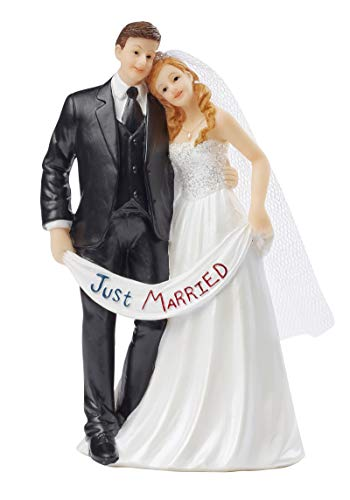 """""""Just Married"""" Cake Figurine - 13.5 cm High Wedding Couple / Bride and Groom with Banner - Cake Decoration for Wedding Cakes"""