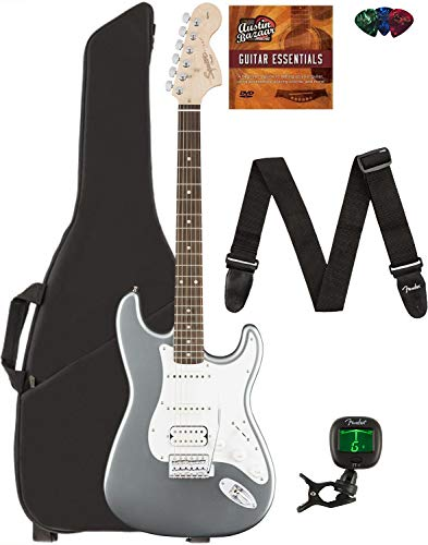 Fender Squier Affinity Stratocaster HSS - Race Green Bundle with Gig Bag, Tuner, Strap, Picks, and Austin Bazaar Instructional DVD