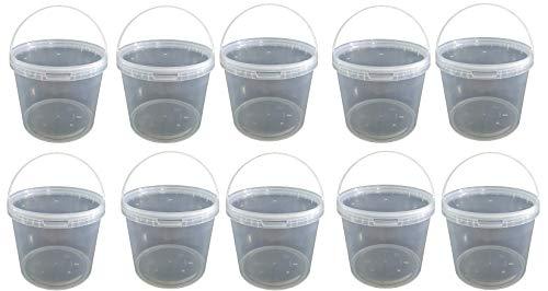 10 x 10 Liter Eimer mit Deckel transparent, stapelbarerer Milch-/Vorratseimer, Honigeimer Kunststoffeimer mit Lebensmittelfreigabe, Lebensmittelechte Behälter, Leereimer für Mehl, Wassereimer 10 Stück
