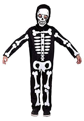 Disfraz de esqueleto - zombies - disfraces para niños - halloween - carnaval - monstruo - muerte - huesos - color negro - niño - talla xl - 8/9 años - idea de regalo original