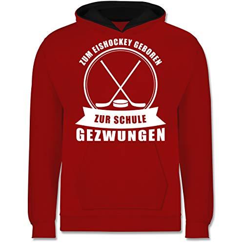 Shirtracer Sport Kind - Zum Eishockey geboren. Zur Schule gezwungen - 152 (12/13 Jahre) - Rot/Schwarz - Kinder Hoodie zum Eishockey geboren zur Schule gezwungen - JH003K - Kinder Kontrast Hoodie
