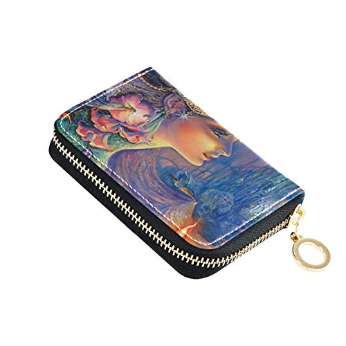 Titular de la tarjeta de crédito de la diosa de la tarjeta de visita organizador de la cremallera de la caja pequeña de cuero de la cartera para las mujeres de viaje de las señoras 2010080
