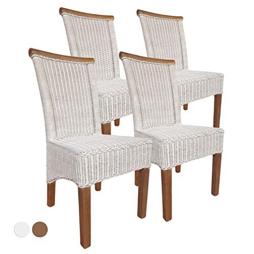 casamia Perth - Juego de 4 sillas de Comedor (Lino), Color Blanco