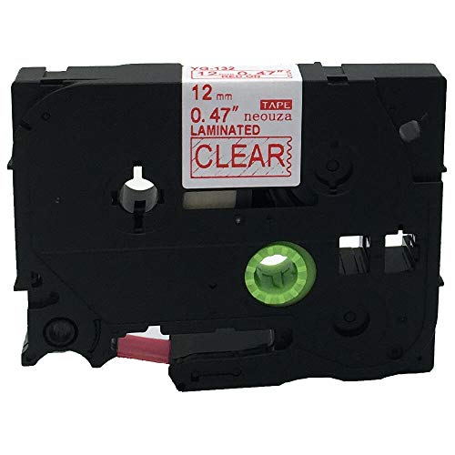 Compatible for Brother P-Touch Laminated TZe TZ Label Tape Cartridge 12mm x 8m(TZ-132 TZe-132 Red on Clear)