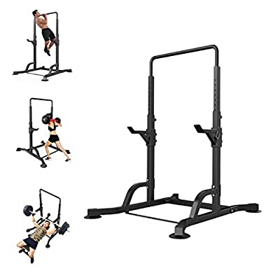 Squat Rack and Bench Press,Barbell Rack,Power Tower Pull Up Bar,Power Rack,Multifunctional Horizontal Bar Pull-up Weight Reduction Frame Bench Press Squat Home Gym Fitness (Black)