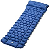 Sleeping Pad for Camping, iDOO Inflatable Camping Mattress with Foot Press and Pillow, Compact Lightweight Sleeping Mat Suit for Backpacking, Traveling, Camping, Waterproof, Form to Double-Bed Easily