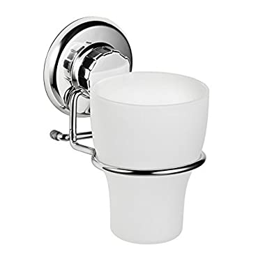 HASKO accessories Vacuum Suction Cup Toothbrush Holder - Strong Stainless Steel Toothpaste and Razor Holder for Bathroom & Kitchen - Can be Mounted on Clean Flat Smooth Surface - (Chrome)