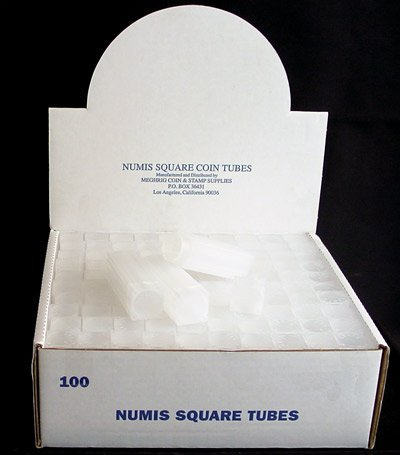 Box of 100 Numis Coin Tubes for Nickels