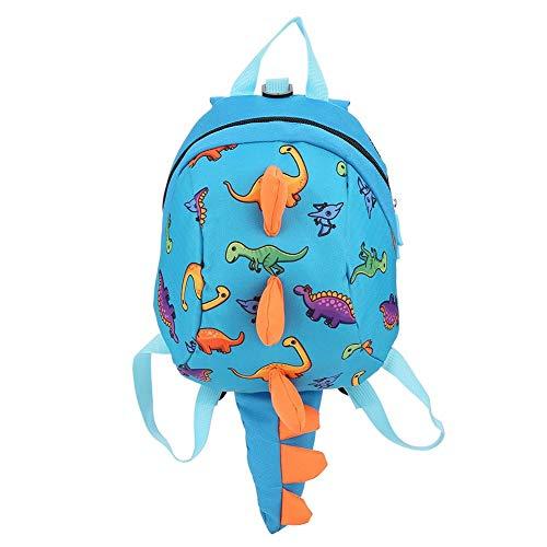 Dinosaurier Rucksack Kinder Kinder Kleinkind Tasche Cartoon Rucksack Snack Lunchpaket Reiserucksack mit Sicherheitsgurt Leine für Vorschuljungen Mädchen(Blau)