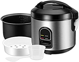 Rice Cooker, One-Touch Control,Small 5-cup Uncooked Rice Cooker Food Steamer with Removable Nonstick Pot, Steamer Basket and Keep Warm Function