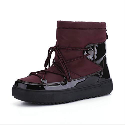 SHENAISHIREN Botas de Nieve Casuales Bajas, Zapatos Cálidos de Punta de Punta, Zapatos Antideslizantes de Cordones de Moda (Color : A, Size : 38)