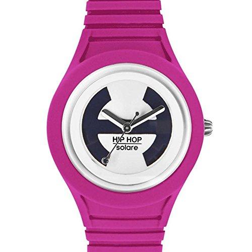 Hip Hop Watches - Orologio da Donna Fucsia Purple HWU0532 - Collezione Solare - Cinturino in Silicone - Impermeabile 5 ATM - Cassa 34mm - Fucsia