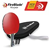 FireBlade 'Ninjato' - Carbon ITTF Approved Table Tennis Bat with Free Case - 5-ply wood & 2-ply carbon - Ping Pong Racket Paddle - ITTF Rubber - Comfortable Handle - Includes Bat Case (Soft case)