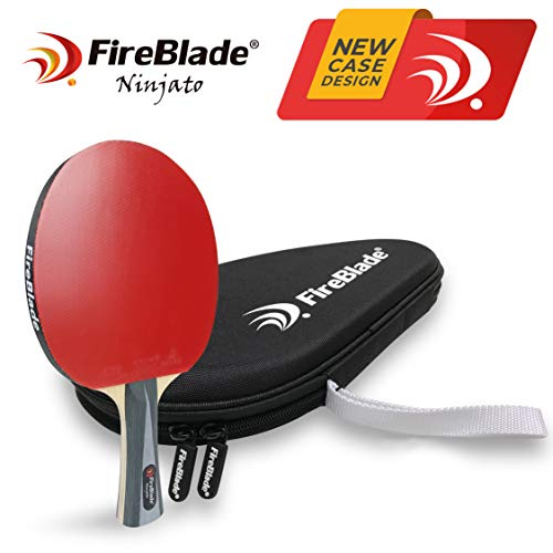 Fireblade Ninjato - Carbon Tischtennisschläger mit Fall - 5-Ply Holz & 2 lagig - Ping Pong Schläger Paddel - ITTF - bequemer Griff - inkl. Frei Fall (Hard case)