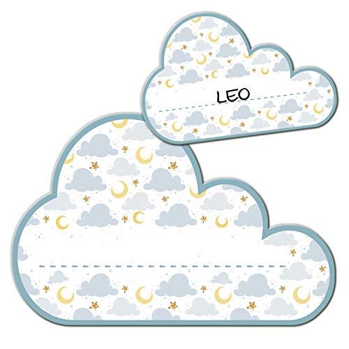 Logbuch-Verlag - Targhetta per la porta della cameretta dei bambini, con nuvola bianca, autoadesiva, scrivibile, per nome, bambino