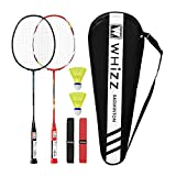 WHIZZ Heavy Duty Graphite Badminton Racket, Full Carbon Fiber Professional Set for Adults with Badminton Bag & 2 Racquet Grip (Black+Red)