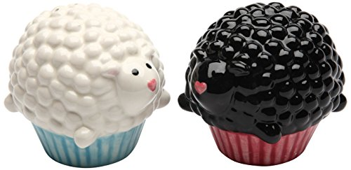 Cosmos Gifts Ceramic Cupcake Sheep Salt and Pepper Set  2-1/2-Inch