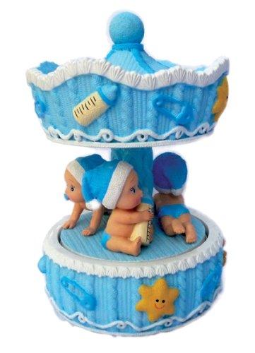 Musicboxworld Le Monde de la boîte à Musique - manège avec bébé garçon - Tourne sur la mélodie «Berceuse de Mozart»