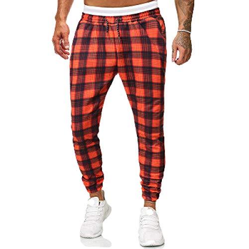 Herren Classic Karohose Fashion Joggerhose Stretch Slim Fit Mit Kordelzug Elastischer Taillenbalken Fuß Freizeithose Small