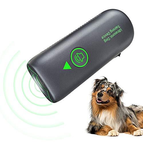 Queenmew Dispositivo Anti-abbaio ad ultrasuoni Portatile, dispositivi Anti-abbaio sonici con indicatore LED, Dispositivo Portatile Anti-abbaio per Interni ed Esterni.