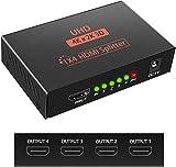 Divisor HDMI 1 IN 4 out 3D 4K 1080P HDMI Distribuidor Divisor 1 x 4 HDCP 1.4 HDMI Amplificador de Distribución con Cable USB Compatible con PC PS3 HDTV BLU-Ray Proyector DVD Etc (Negro)