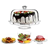 Denny International® 6 IN 1 CAKE STAND CLEAR ACRYLIC DOME LID SALAD PLATE PUNCH BOWL CHIP DIP SERVER