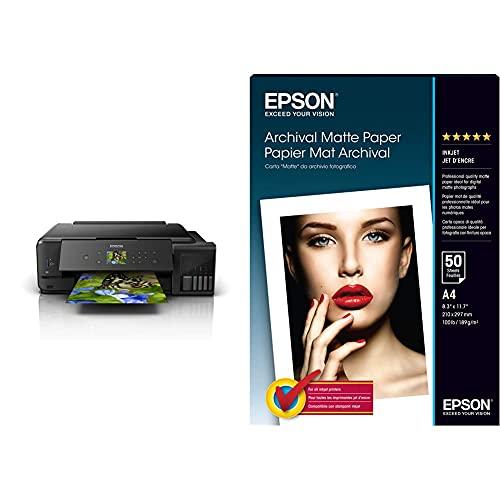 Epson Ecotank Et-7750 - Impresora, Color Negro + Archival Matte Paper - Papel