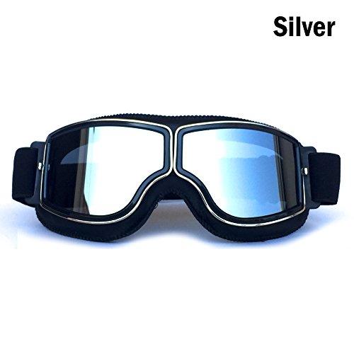 HCMAX Vintage Brille Sport Sonnenbrillen Helm Steampunk Brillen Motocross im Freien Rennfahrer-Motorrad Flieger Pilot Stil Cruiser Scooter Brille Retro für Kinder Männer und Frauen