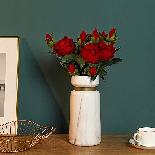 Hawesome 6 Künstliche Rosen Kunstblumen Kunstrosen Flanell rot weiß Rose Dekoration Hochzeit Blumenstrauß Raum Ausgestaltung Blumenarrangement Garten Party Büro Blumenschmuck 18 Rosenköpfe - 8