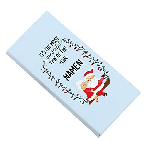 Herz & Heim® Weihnachtsschokolade - most wonderful time - personalisiert mit Ihren Wunschnamen
