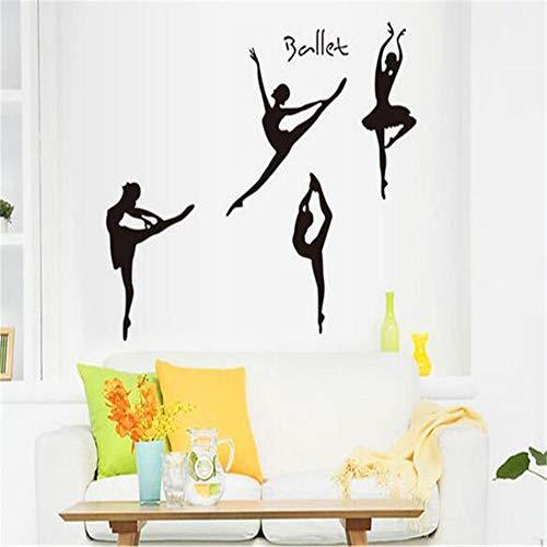 JXFM dansballet meisje schets woonkamer slaapkamer wandsticker badkamer wc decoratie kinderkamer behang decoratie 50x70 cm