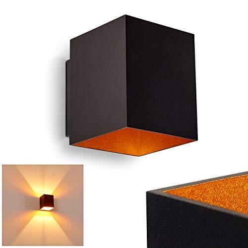Wandlamp Laforsen van metaal in zwart/goud, moderne wandlamp met lichteffect, 1 x G9 fitting, max. 40 Watt, kubus/interieur wandlamp met op en neergaande werking, geschikt voor LED-verlichting