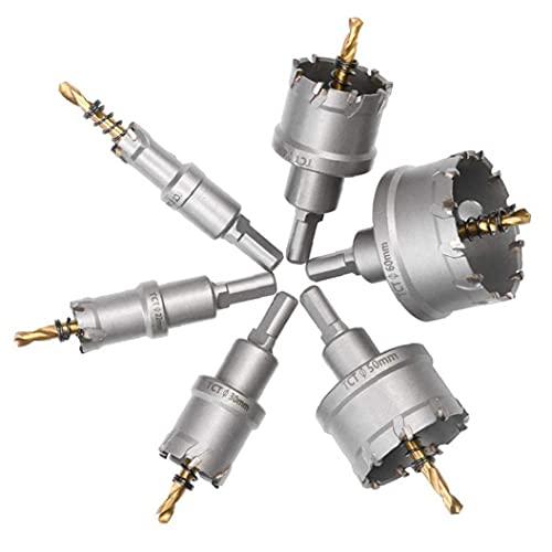 Runfon Sierra de perforación del Kit de pedacitos de la Herramienta TCT carburo de perforación para la Placa de Acero Inoxidable del Metal de Madera Hierro plástico de aleación de Cobre 6pcs