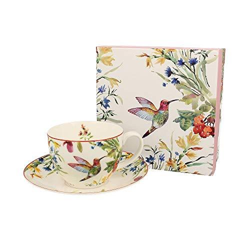 Duo collectie Linnea mok met schoteltje uit New Bone China porselein in geschenkdoos, koffiekopje, theekopje, inhoud 270 ml
