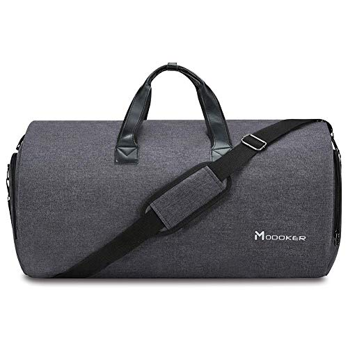 Modoker Travel Garment Bag for Men,Women with Shoulder Strap Carry on Duffel Bag - 2 in 1 Hanging Sport Suitcase Suit Bags (Black)