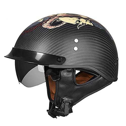 EBAYIN Cascos Half-Helmet Cascos Abiertos Brain - Cap Casco Jet Media Cara Casco Motocicleta Harley Retro Dot/ECE Cruiser Helicóptero Chopper Pilot Casco Scooter Casco Colisión,G-XL=(61~62cm)