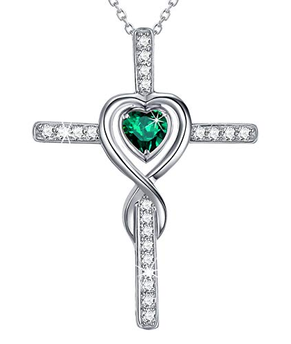 Love Infinity Pendant Emerald Jewelry for Mom Wife Birthday Gifts Sterling Silver Love Heart Heart Pendant Necklace for Her Anniversary