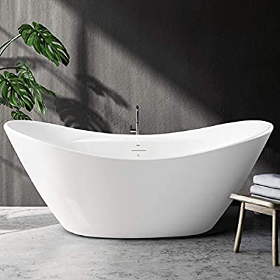 """FerdY Boracay 67"""" Acrylic Freestanding Bathtub, Gracefully Shaped Contemporary Design Bathtub with Brushed Nickel Drain, Integrated Slotted Overflow, Glossy White, cUPC Certified, 02503"""