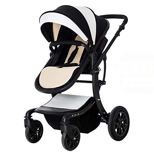 LYzpf Leichter Baby Kinderwagen Einstellbar Stilvolle Babyartikel Kombikinderwagen Babyausstattung Buggy Faltbar Babyzubehör Babyprodukte Kompakt Zubehör für 0-36 Monate,Black