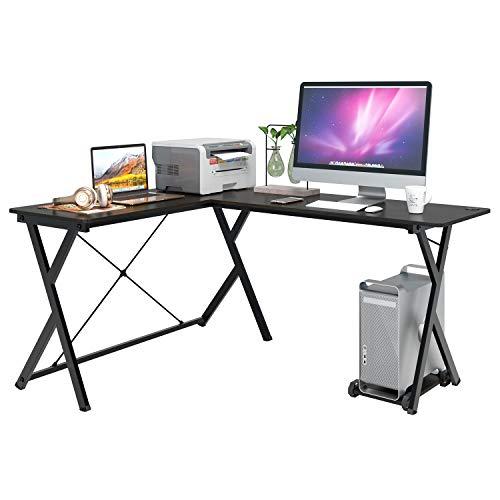 Homfa Computertisch Eckschreibtisch L-förmiger Schreibtisch PC-Tisch Gaming Tisch Ecktisch Arbeitstisch Bürotisch Holz Metall Schwarz 158x120x72cm