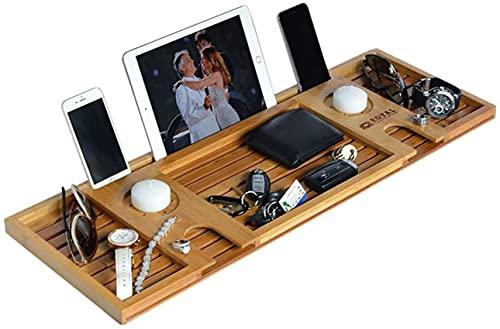 Bandeja de baño expandible, bandeja de carrito de bañera de bambú artesanal, hermosa caja de regalo, tiene capacidad para libros, vino, teléfono, iPad, computadora portátil, etc., se adapta a cua