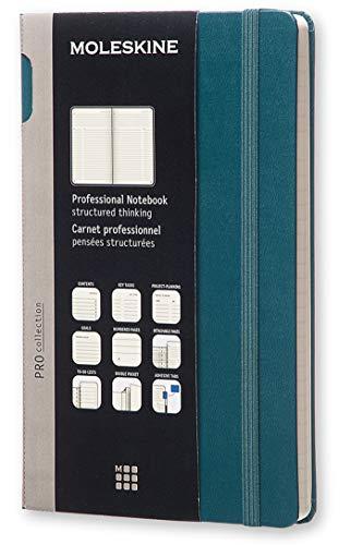 Moleskine Pro Notebook Professionelles Arbeitsnotizbuch (Hardcover mit Elastischem Verschluss, Großformat 13 x 21 cm, 192 Seiten) tidegrün