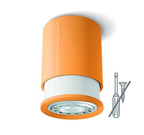 Twister Colours Spot, orange; einfache Montage: Keine Schrauben, ein Haken genügt. Patentiert. Decken- und Wandleuchte, GU10 LED