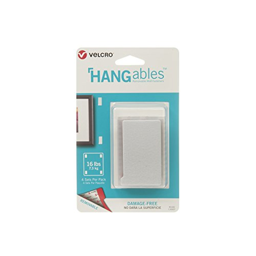 VELCRO Brand HANGables | Removable Wall Fasteners | Decorate Without Damaging Your Walls | Hang frames, Create Wall Collages | 4 Sets per Pack | Large Strips