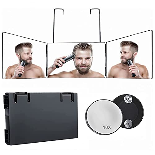 10X Magnification 3 Way Mirror,360 Mirror for Self Hair Cutting & Styling,Shaving,DIY Haircut and Makeup, Trifold Mirror with Height Adjustable Telescoping Hooks ,Perfect for Travel,Bedroom,Bathroom.